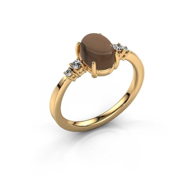 Ring Jelke 585 goud rookkwarts 8x6 mm