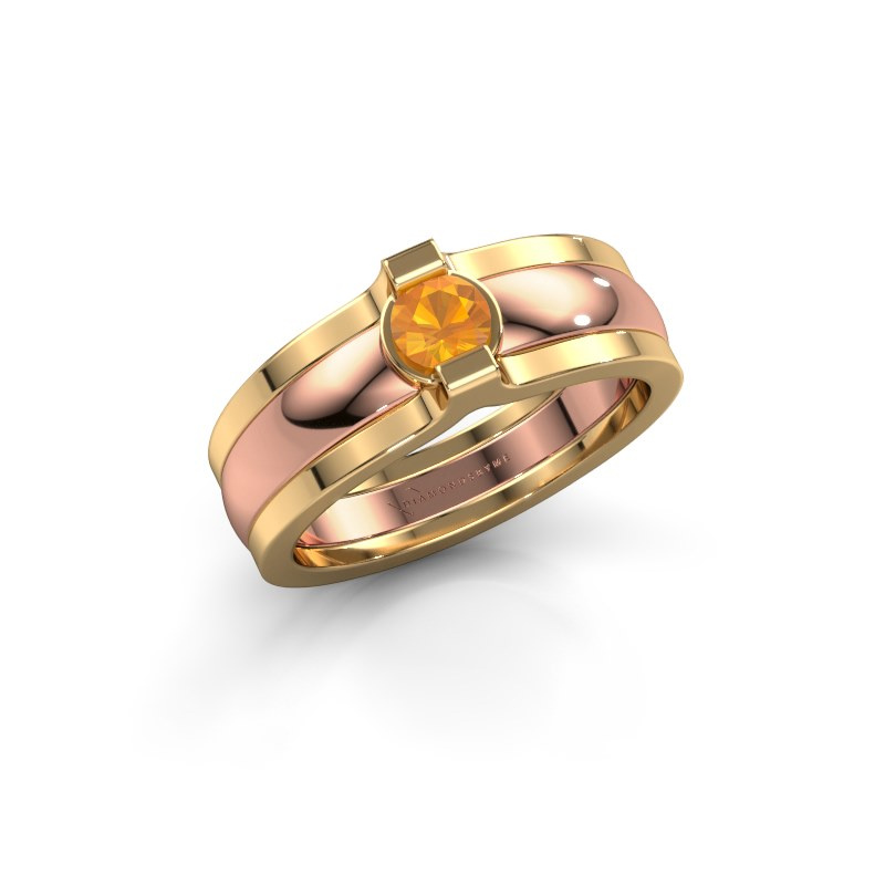 Ring Jade 585 rose gold citrin 4 mm