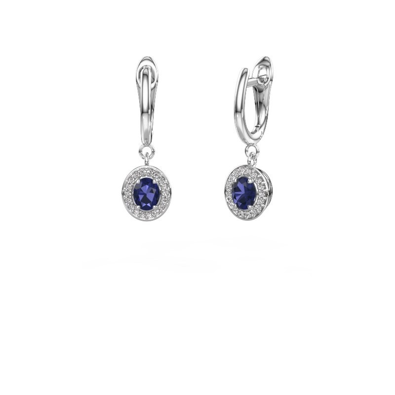 Drop earrings Nakita 585 white gold sapphire 5x4 mm