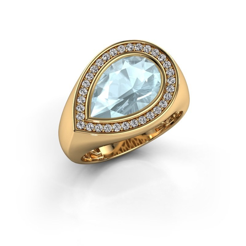 Ring Latashia 585 goud aquamarijn 12x8 mm