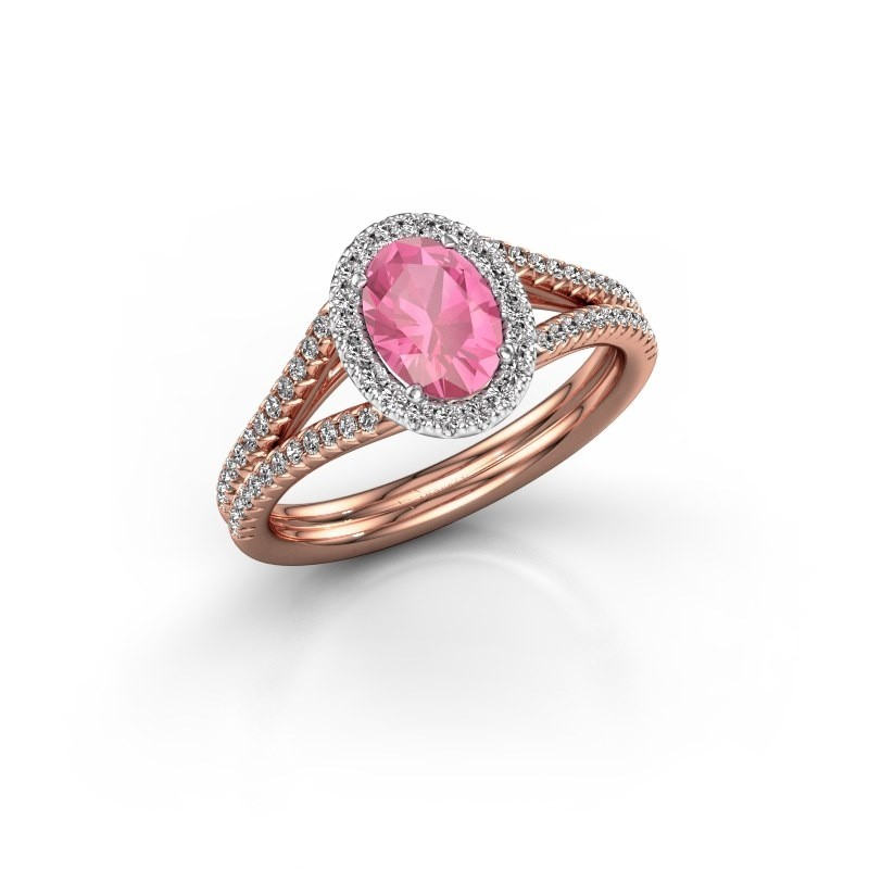 Engagement ring Rachele 2 585 rose gold pink sapphire 7x5 mm