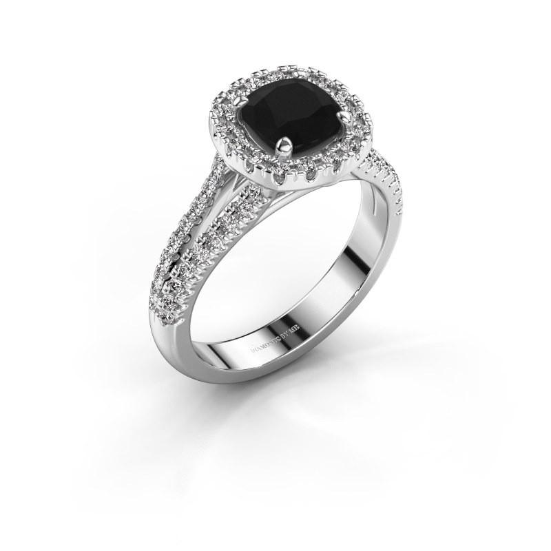Verlovingsring Francesca 585 witgoud zwarte diamant 1.89 crt