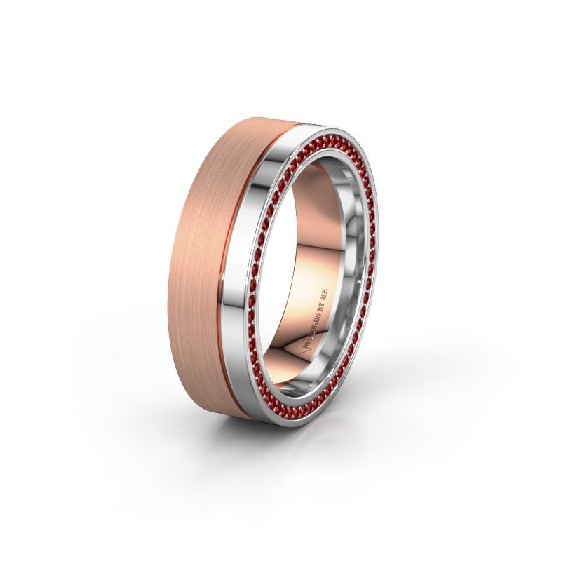 Wedding ring WH0313L16B 585 rose gold ruby ±0.24x0.08 in