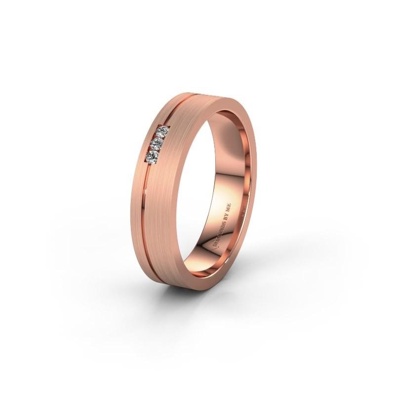 Trouwring WH0156L14X 375 rosé goud lab-grown diamant ±4,5x1.4 mm