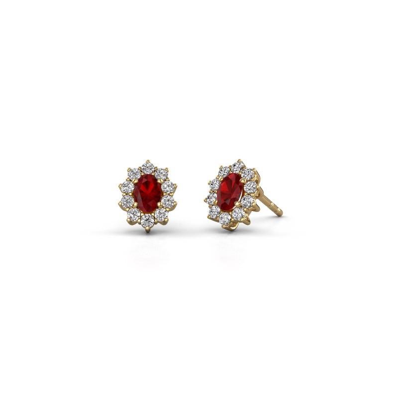 Earrings Leesa 375 gold ruby 6x4 mm