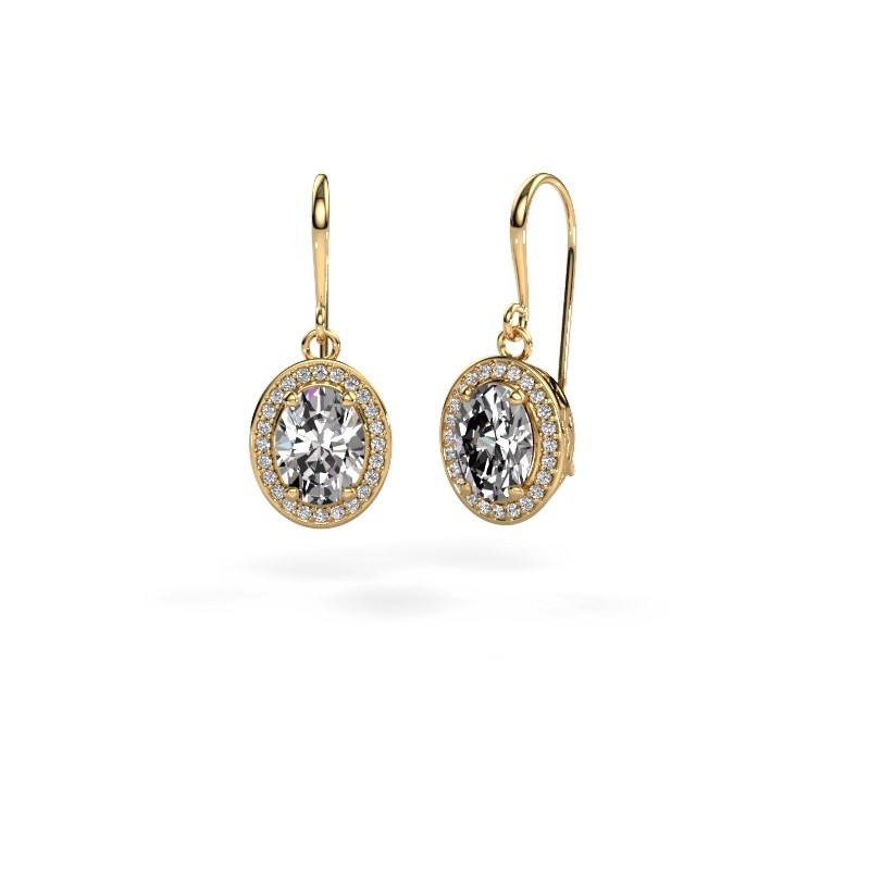 Drop earrings Latesha 585 gold zirconia 8x6 mm