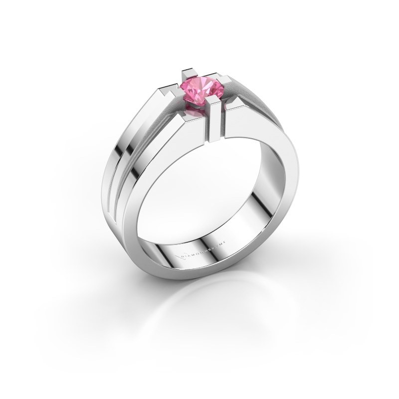 Heren ring Kiro 585 witgoud roze saffier 5 mm