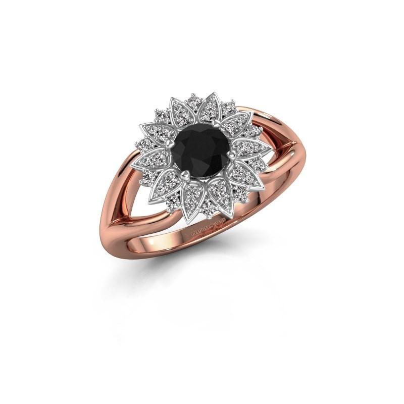 Verlovingsring Chasidy 1 585 rosé goud zwarte diamant 0.60 crt