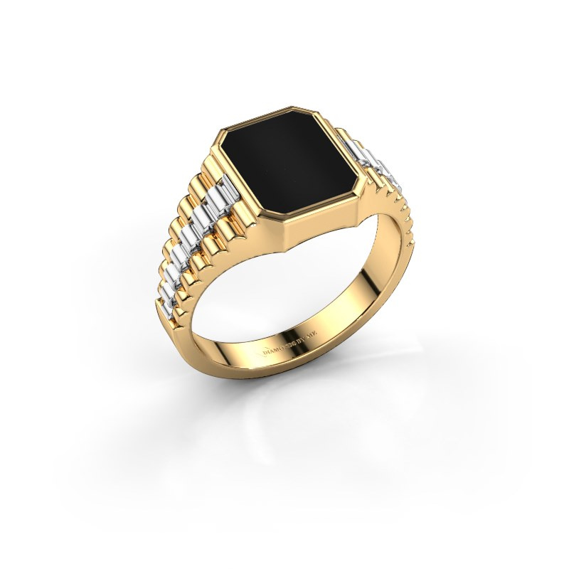 Zegelring Brent 1 585 goud onyx 10x8 mm