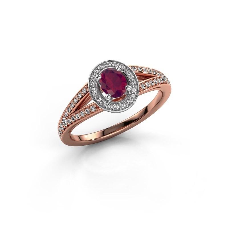 Verlovings ring Angelita OVL 585 rosé goud rhodoliet 6x4 mm