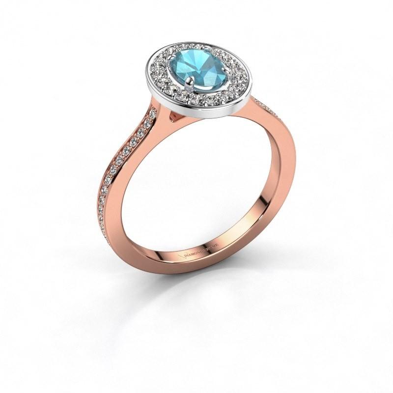Ring Madelon 2 585 rosé goud blauw topaas 7x5 mm