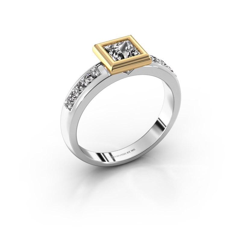 Steckring Lieke Square 585 Weißgold Diamant 1.18 crt
