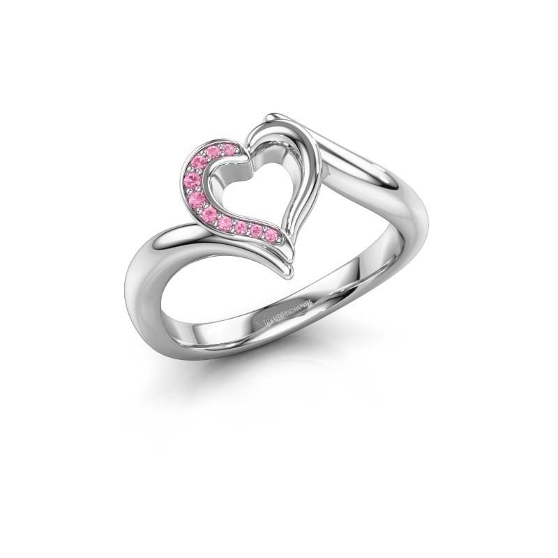 Ring Katlyn 950 platina roze saffier 0.8 mm