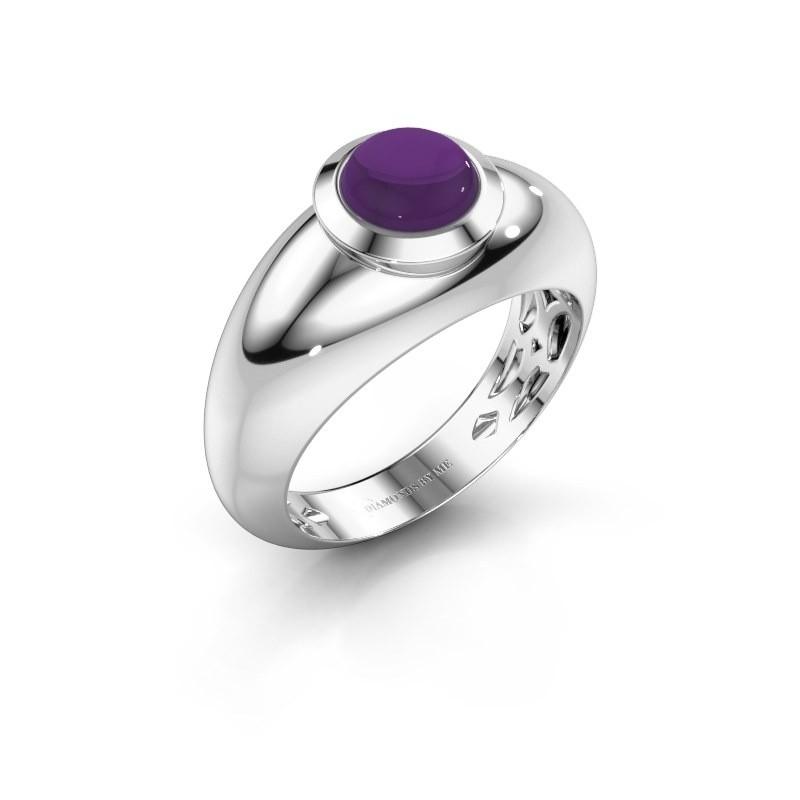 Ring Sharika 585 witgoud amethist 6 mm