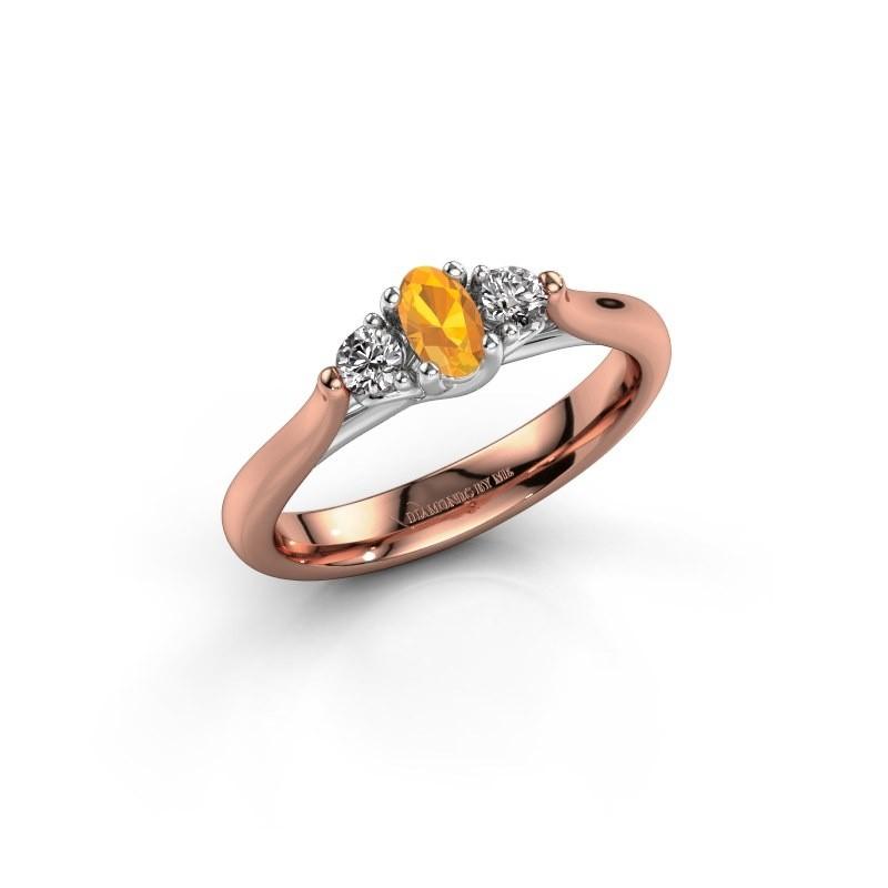 Verlovingsring Jente OVL 585 rosé goud citrien 5x3 mm