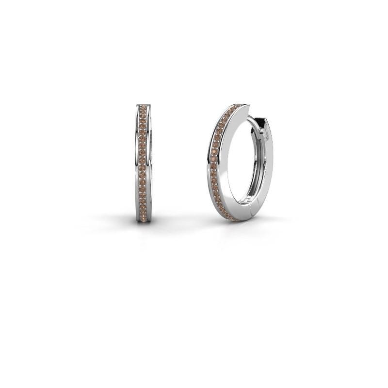 Creolen Renee 4 12 mm 925 zilver bruine diamant 0.38 crt
