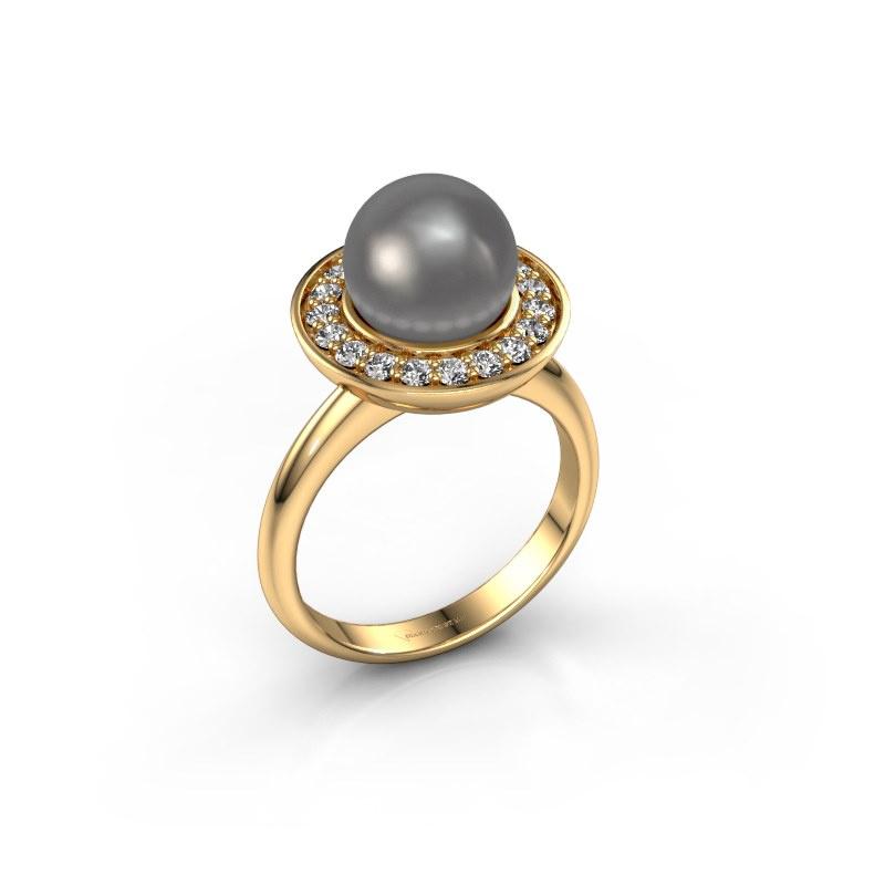 Ring Sarah 585 goud grijze parel 9 mm