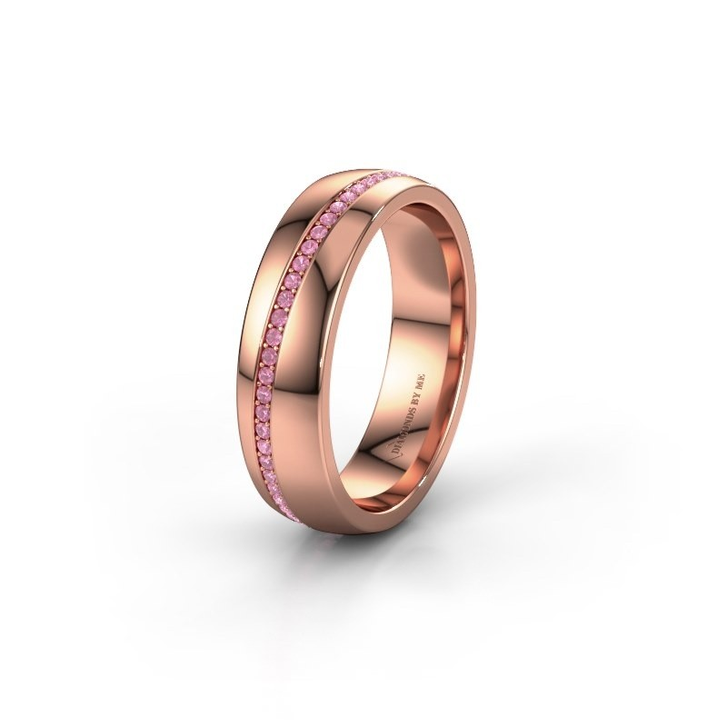 Wedding ring WH0109L25A 375 rose gold pink sapphire ±5x1.7 mm