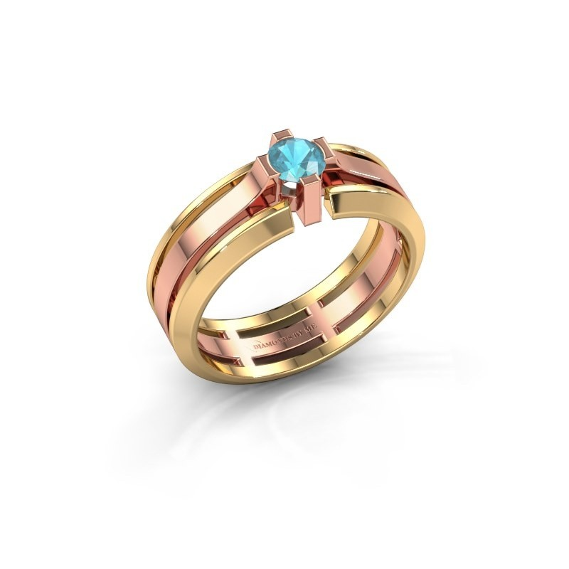 Heren ring Sem 585 rosé goud blauw topaas 4.7 mm
