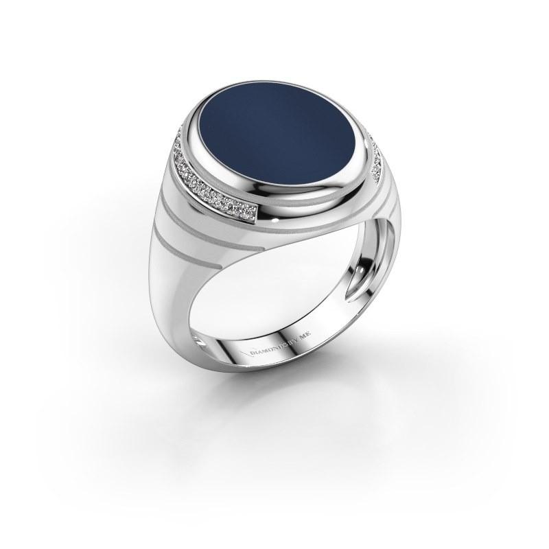 Zegelring Luuk 375 witgoud donker blauw lagensteen 15x12 mm