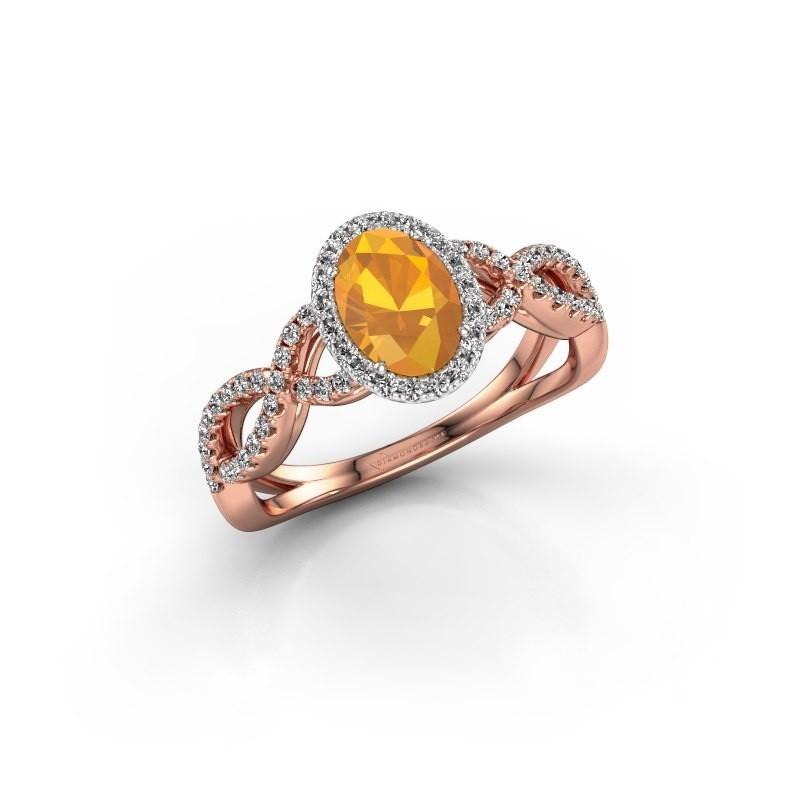 Engagement ring Dionne ovl 585 rose gold citrin 7x5 mm