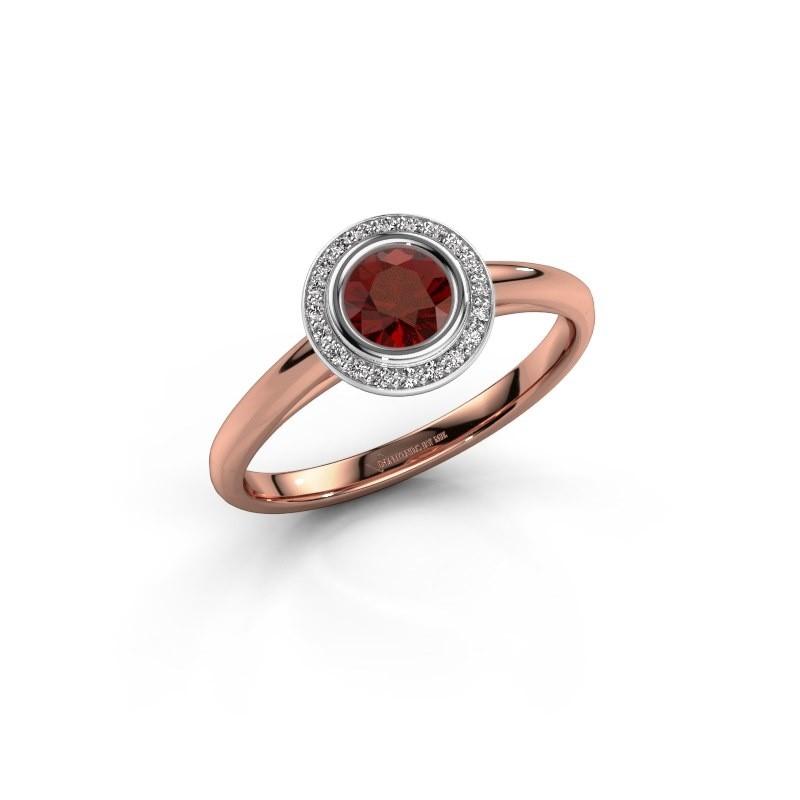 Promise ring Noud 1 RND 585 rosé goud granaat 4.7 mm