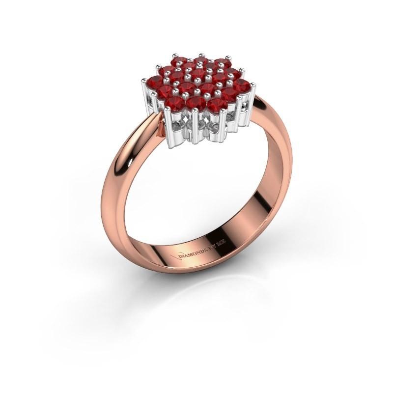 Ring Bente 585 rosé goud robijn 1.9 mm