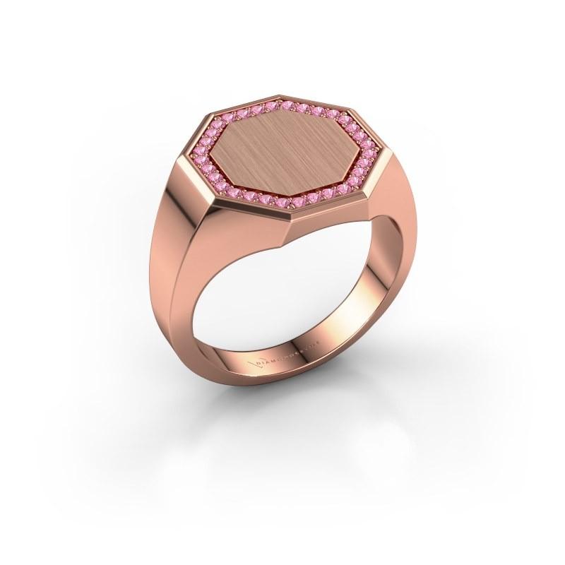 Heren ring Floris Octa 3 375 rosé goud roze saffier 1.2 mm