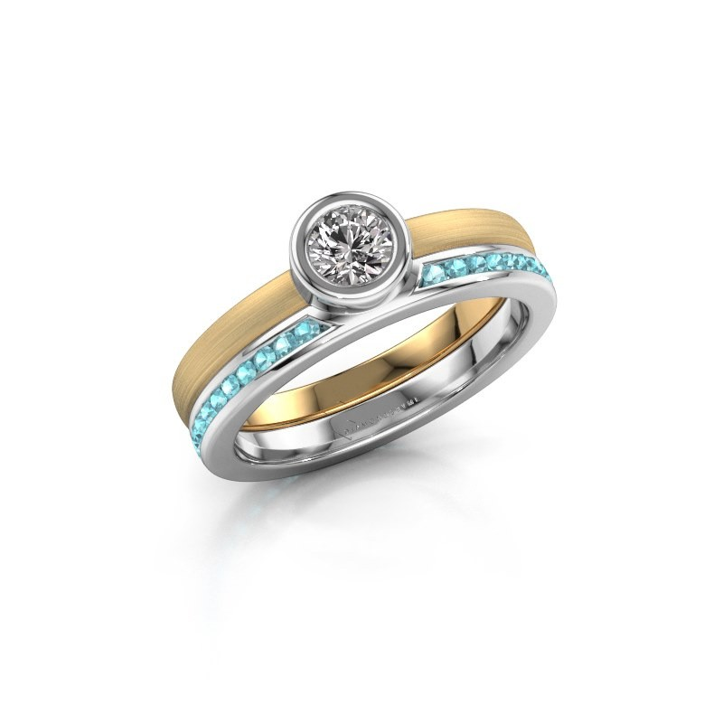 Ring Cara 585 goud blauw topaas 4 mm