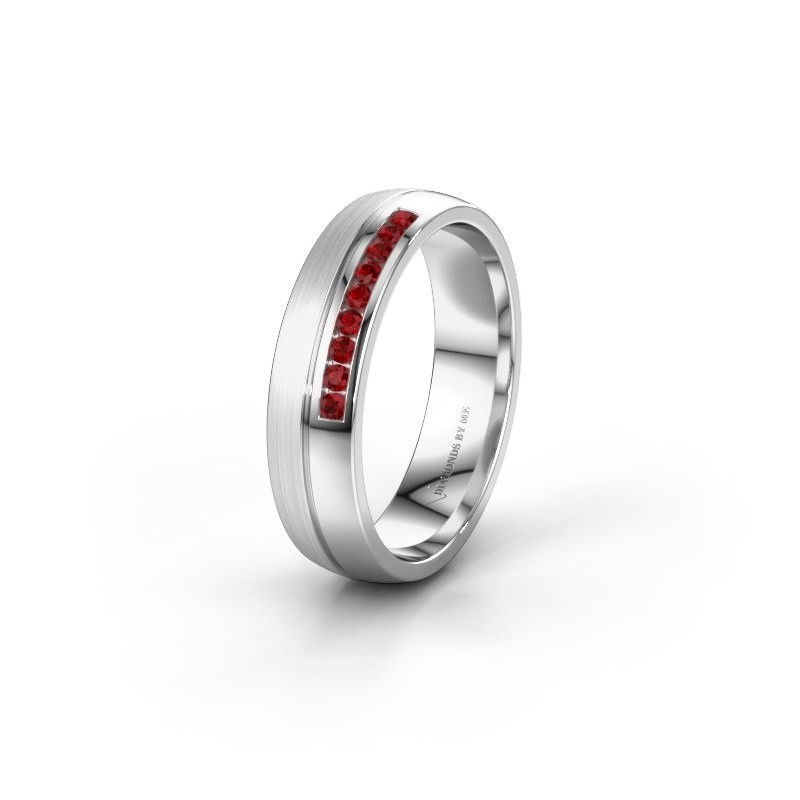 Wedding ring WH0209L25APM 585 white gold ruby ±0.20x0.07 in