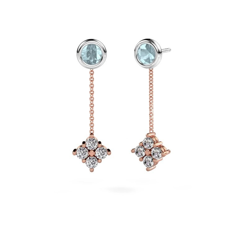 Oorhangers Ardith 585 rosé goud diamant 0.80 crt