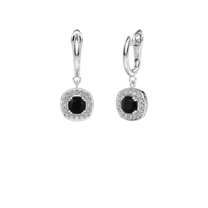 Drop earrings Marlotte 1 585 white gold black diamond 0.60 crt