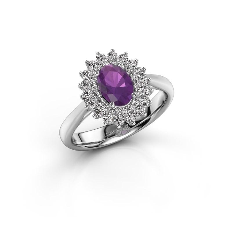 Engagement ring Alina 1 925 silver amethyst 7x5 mm