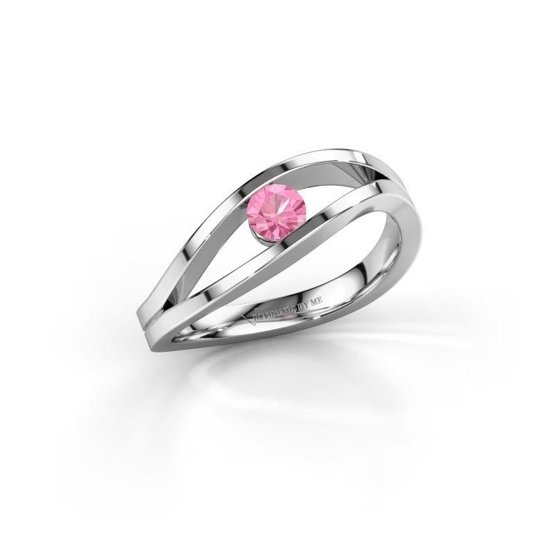 Engagement ring Sigrid 1 925 silver pink sapphire 3.7 mm