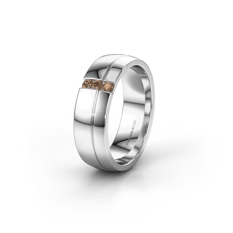 Trouwring WH0223L56A 585 witgoud bruine diamant ±6x1.7 mm