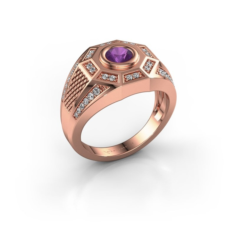 Heren ring Enzo 375 rosé goud amethist 5 mm