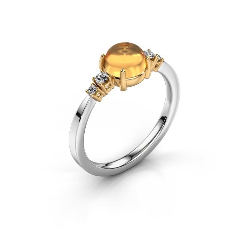 Ring Regine 585 white gold citrin 6 mm