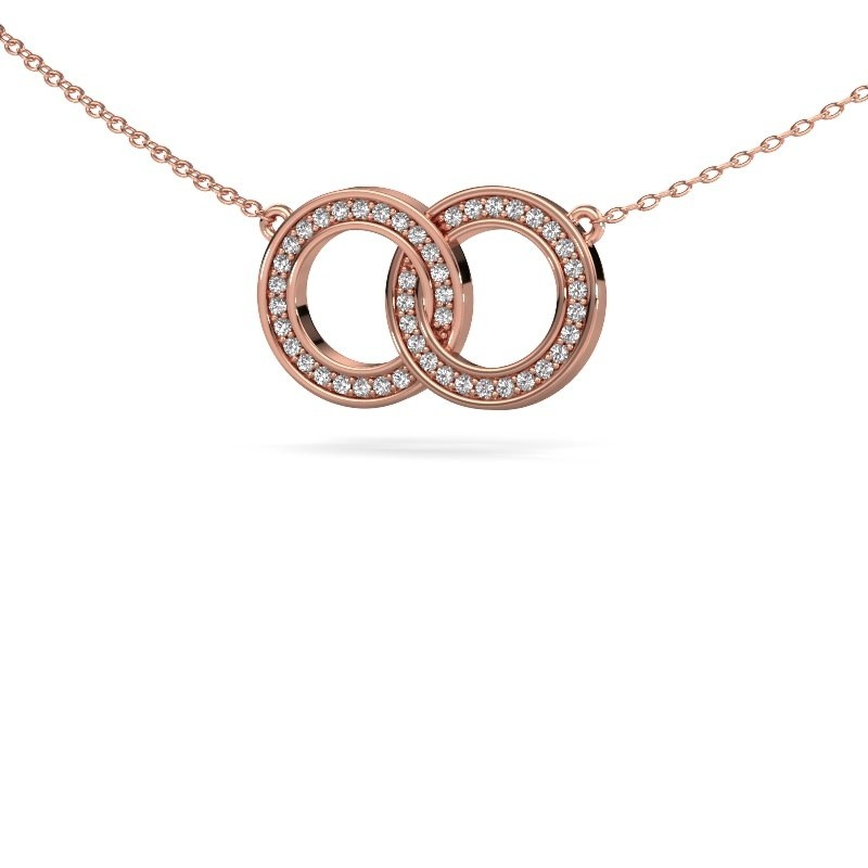 Collier Circles 1 375 or rose zircone 1 mm