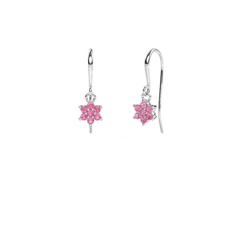 Drop earrings Dahlia 1 950 platinum pink sapphire 1.7 mm