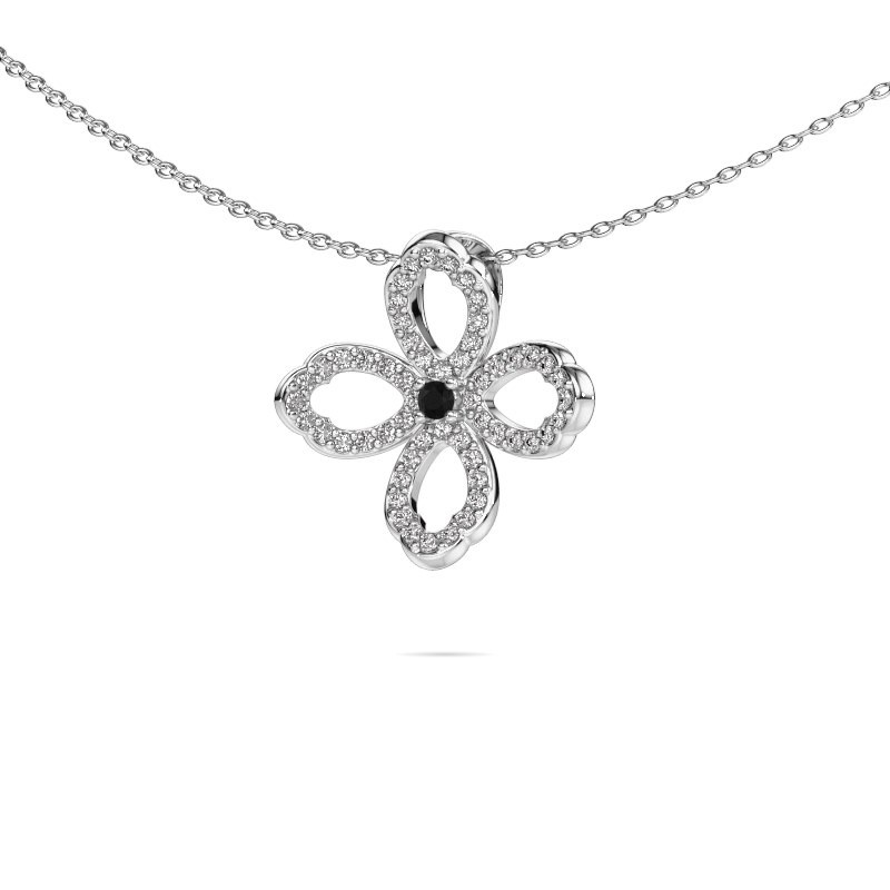 Ketting Chelsea 585 witgoud zwarte diamant 0.316 crt