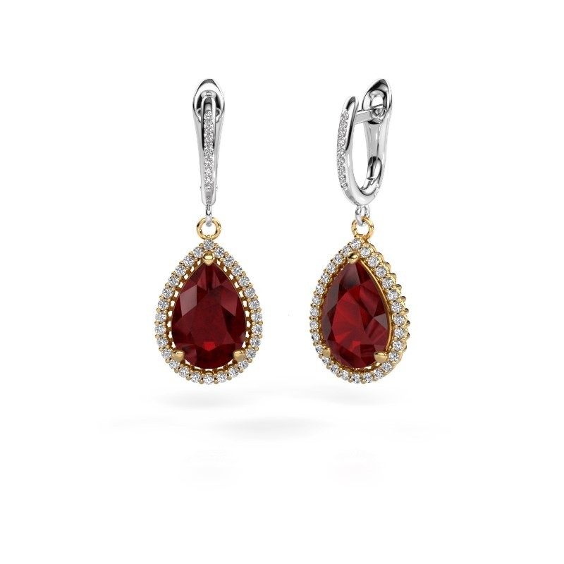 Drop earrings Tilly per 4 585 gold ruby 12x8 mm