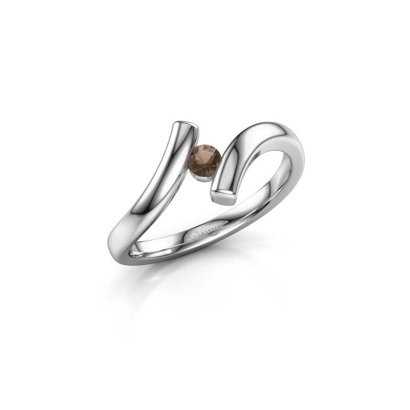 Ring Amy 950 platina rookkwarts 3 mm