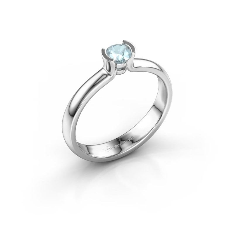 Engagement ring Ophelia 925 silver aquamarine 4 mm