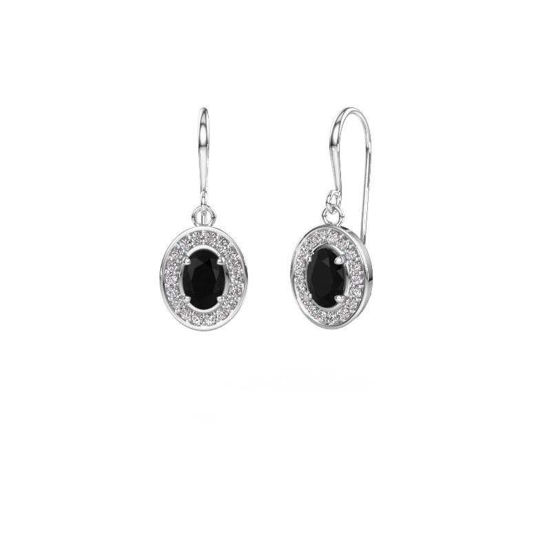 Oorhangers Layne 1 585 witgoud zwarte diamant 1.92 crt