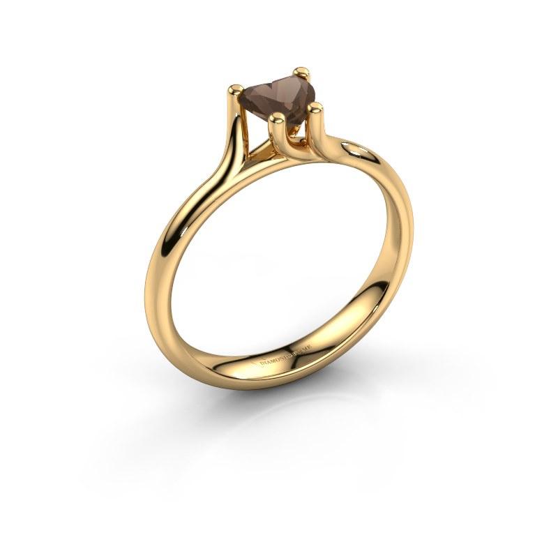 Engagement ring Dewi Heart 585 gold smokey quartz 5 mm