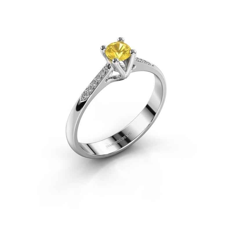 Promise ring Janna 2 950 platina gele saffier 4 mm