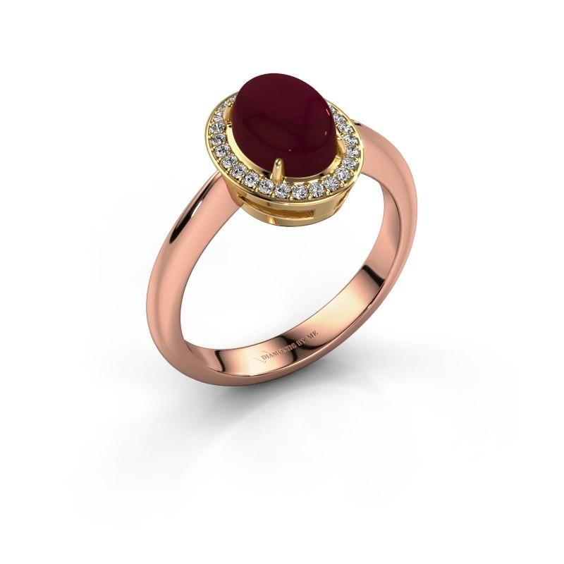 Ring Kristian 585 rosé goud granaat 8x6 mm