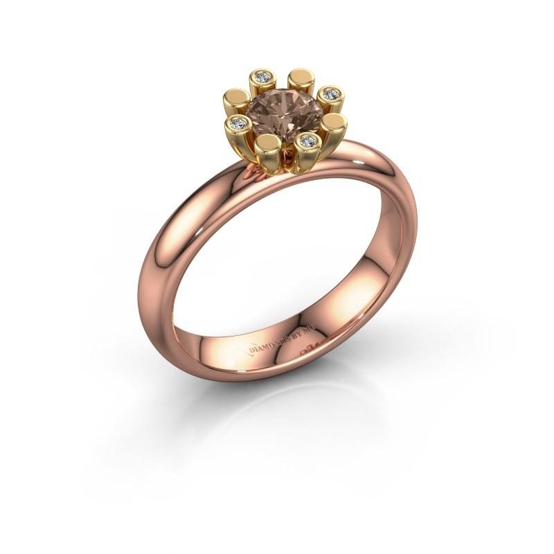 Stapelring Carola 2 585 rosé goud bruine diamant 0.52 crt