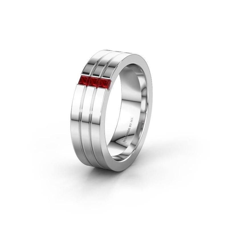 Trouwring WH0428L16BP 925 zilver robijn ±6x2 mm