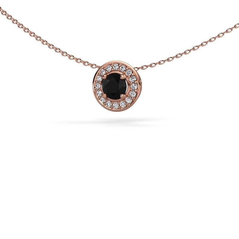 Hanger Agaat 375 rosé goud zwarte diamant 0.76 crt